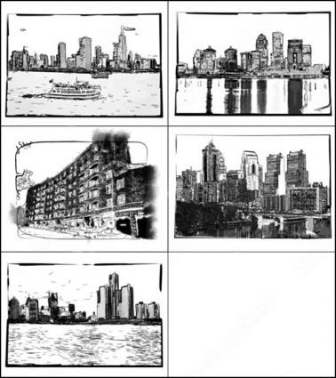 都市の建物のブラシ photoshop のブラシ