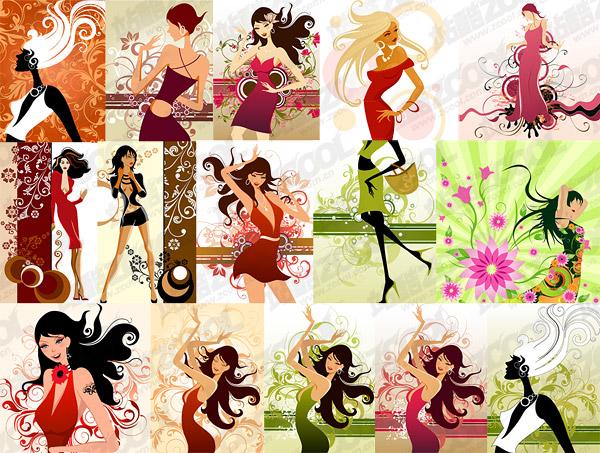 15、女性のファッションのイラストとベクター パターン素材