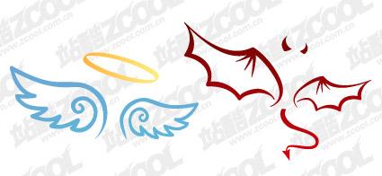 悪魔と天使の羽ベクター素材 無料素材イラストベクターのフリー