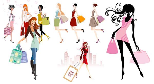 ファッション ショッピング少女ベクター材料