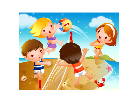 Picture of Cartoon Kids Playing Beach Volleyball