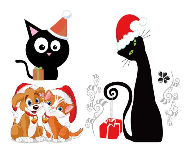 犬と猫のクリスマス ベクター 無料素材イラストベクターのフリー