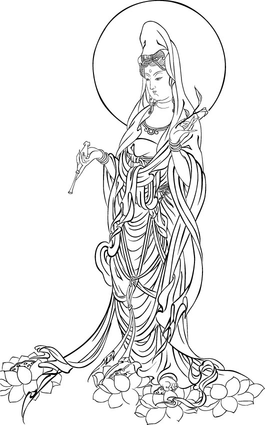 Drawing The Line Tattoos Tara Mccabe : ベクター トレース の慈悲の菩薩 無料素材イラスト・ベクターのフリーデザイナー