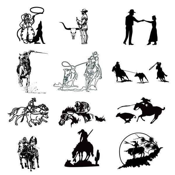 Black and White Cowboys Logo Vector