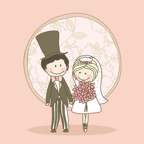漫画スタイルの結婚式要素 04 , ベクター素材