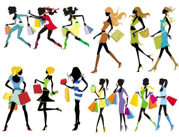 ファッション ショッピング少女ベクター