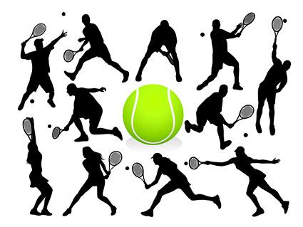 テニス アクション フィギュア シルエット ベクター
